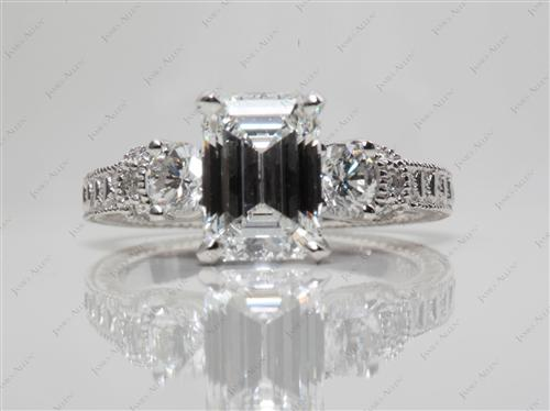 Platinum 2.08 Emerald cut Engagement Rings With Side Stones