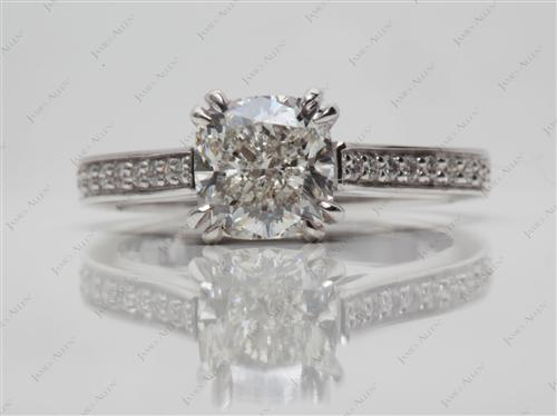 White Gold 1.50 Cushion cut Micro Pave Ring