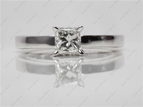 White Gold 0.59 Princess cut Solitaire Diamond Rings