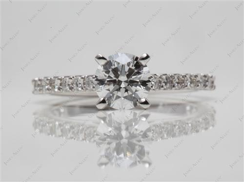 White Gold 0.75 Round cut Engagement Ring Side Stones