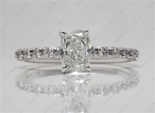 White Gold 0.92 Cushion cut Pave Ring Mountings