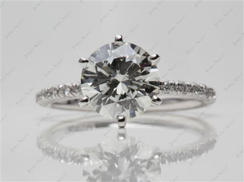 Platinum 1.83 Round cut Pave Diamond Engagement Rings