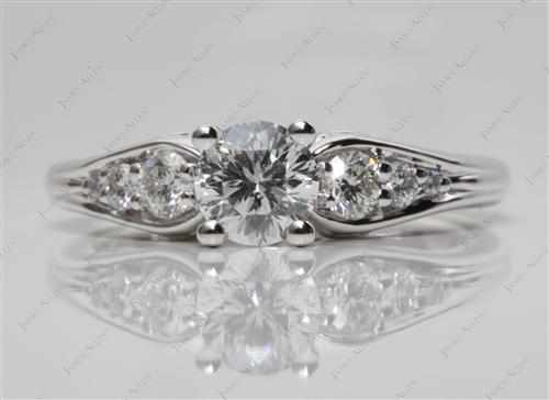 White Gold 0.60 Round cut Engagement Rings