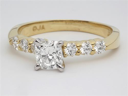 Gold 0.71 Cushion cut Side Stone Engagement Rings