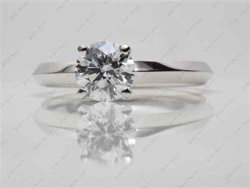 Platinum 1.00 Round cut Solitaire Rings