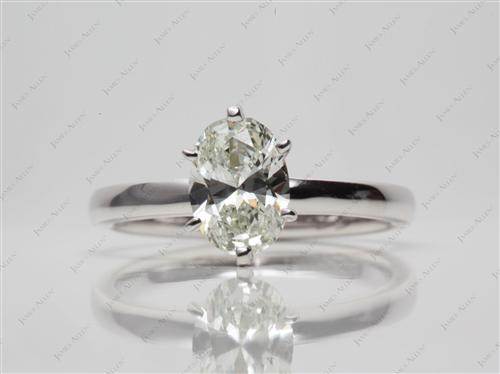 White Gold 0.96 Oval cut Diamond Solitaire Rings