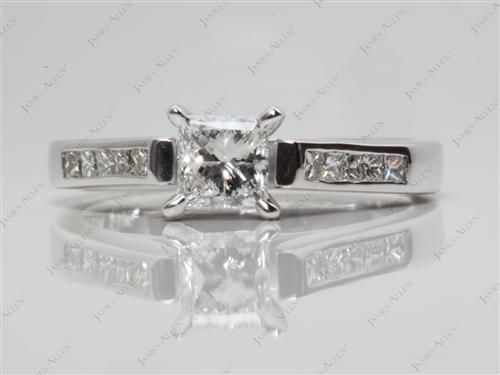 White Gold 0.52 Princess cut Channel Set Diamonds