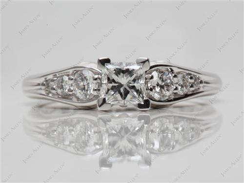 White Gold 0.51 Princess cut Princess Cut Engagement Rings With Side Stones