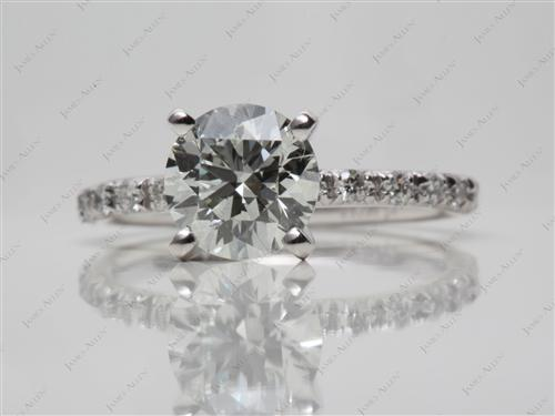 Platinum 1.41 Round cut Pave Diamond Rings