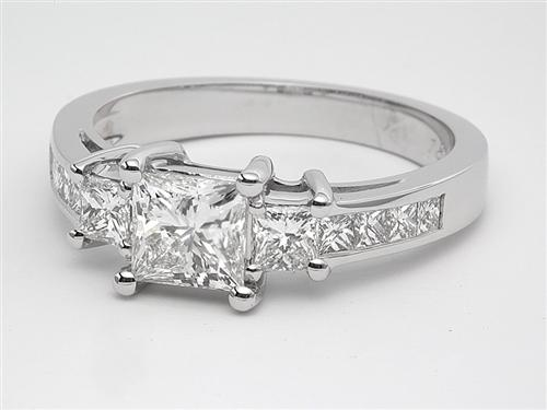 White Gold 0.83 Princess cut Engagement Ring With Sidestones
