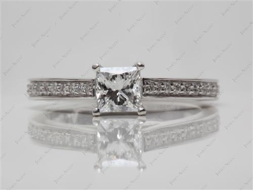 White Gold 0.56 Princess cut Pave Engagement Rings