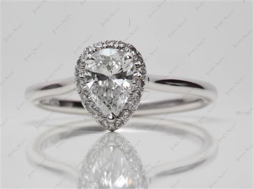 White Gold 0.61 Pear shaped Pave Diamond Engagement Ring
