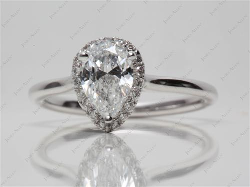 White Gold 1.01 Pear shaped Pave Ring Mountings