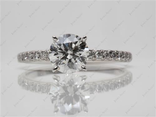 Platinum 1.07 Round cut Pave Ring
