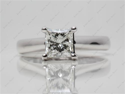 White Gold 1.23 Princess cut Diamond Engagement Solitaire Rings