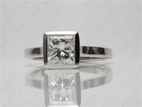 Platinum 1.52 Princess cut Solitaire Engagement Ring