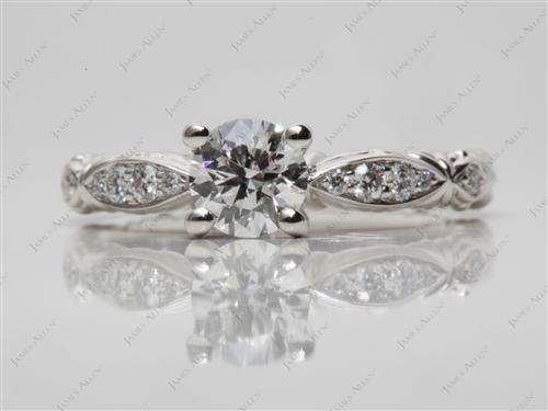 Platinum 0.70 Round cut Pave Diamond Engagement Rings