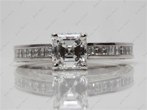 Platinum 0.92 Asscher cut Channel Setting Ring