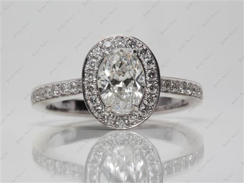 White Gold 1.00 Oval cut Pave Engagement Ring