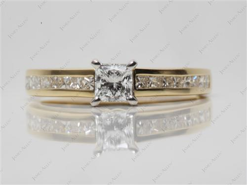 Gold 0.52 Princess cut Channel Set Diamonds