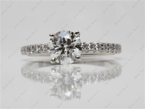 Platinum 0.84 Round cut Pave Ring Setting