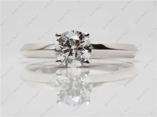 Platinum 0.93 Round cut Solitaire Engagement Rings
