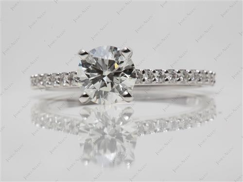 White Gold 1.30 Round cut Engagement Ring With Sidestones