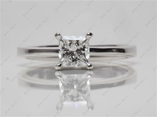 White Gold 0.72 Princess cut Diamond Solitaire Ring Settings