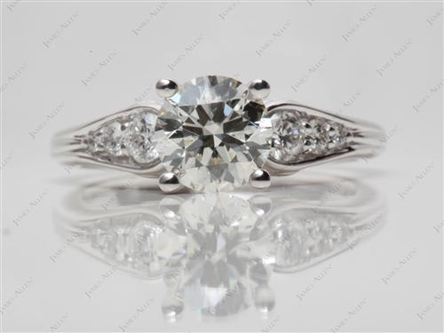 White Gold 1.31 Round cut Side Stone Engagement Rings