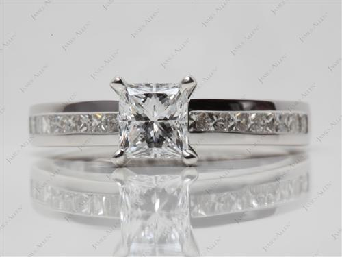 White Gold 1.01 Princess cut Channel Set Engagement Ring