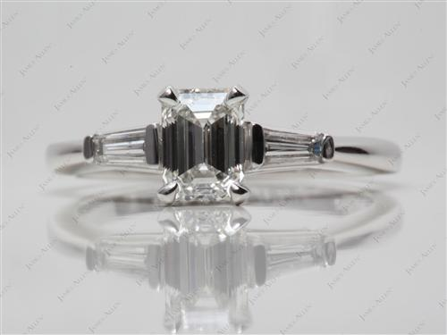Platinum 1.14 Emerald cut Engagement Ring