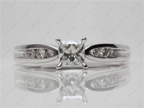 White Gold 0.77 Princess cut Channel Setting Engagement Rings