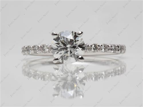 White Gold 1.00 Round cut Diamond Pave Ring