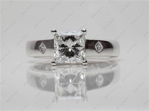 White Gold 1.12 Princess cut Engagement Rings