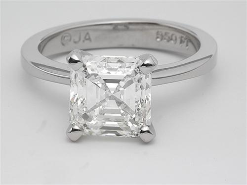 White Gold 0.87 Princess cut Sidestone Engagement Ring