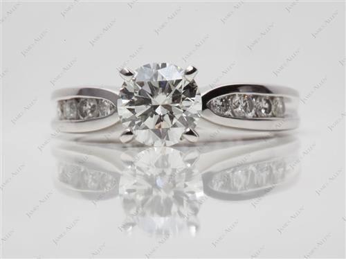 Platinum 1.03 Round cut Channel Diamond Ring