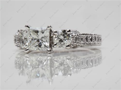 Platinum 0.77 Princess cut Diamond Ring