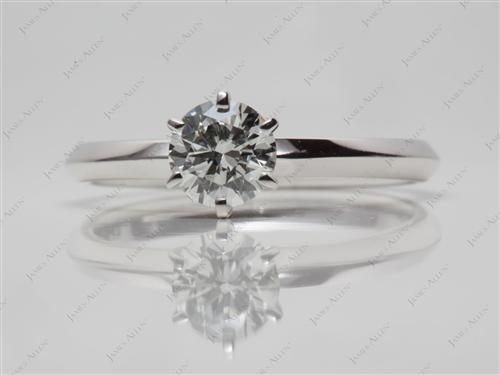 White Gold 0.50 Round cut Diamond Solitaire Ring Settings