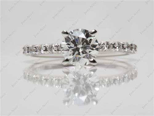 White Gold 0.92 Round cut Pave Diamond Engagement Rings