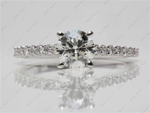 White Gold 0.92 Round cut Sidestone Engagement Ring