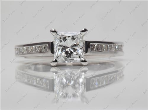 White Gold 1.01 Princess cut Channel Setting Engagement Ring
