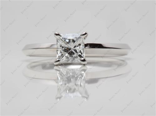 White Gold 0.72 Princess cut Diamond Solitaire Rings