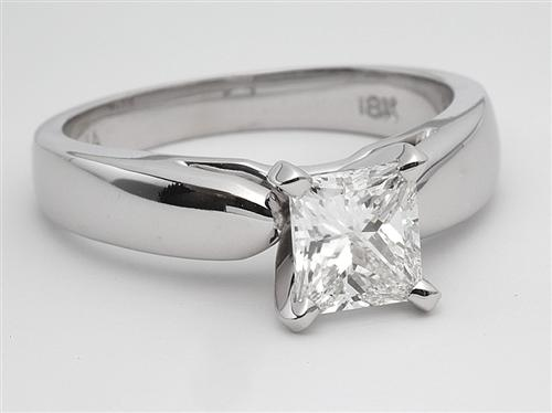 White Gold 0.92 Princess cut Diamond Solitaire Ring Settings