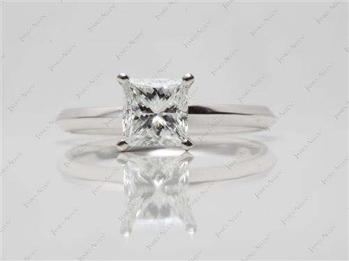White Gold 1.06 Princess cut Solitaire Diamond Ring
