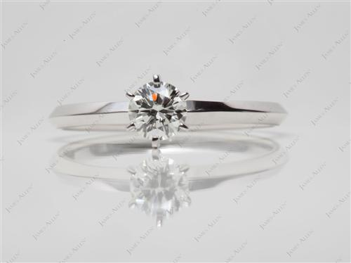 White Gold 0.50 Round cut Diamond Engagement Solitaire Rings