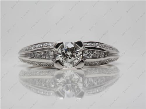 Platinum 0.52 Round cut Engagement Rings