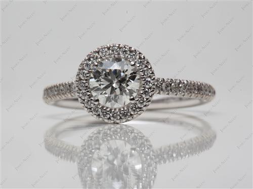 White Gold 0.76 Round cut Engagement Ring