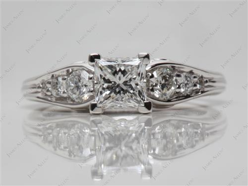 White Gold 0.73 Princess cut Sidestone Engagement Ring