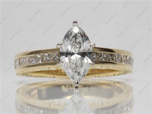 Gold 1.05 Marquise cut Channel Set Diamond Rings