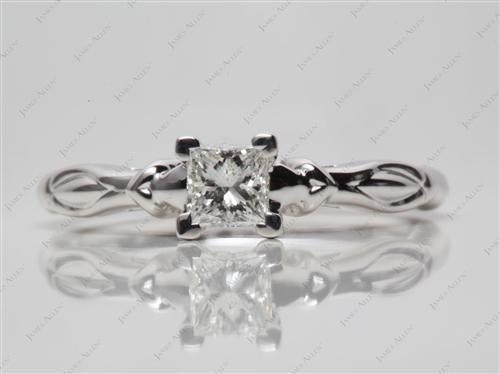 White Gold 0.49 Princess cut Engagement Ring